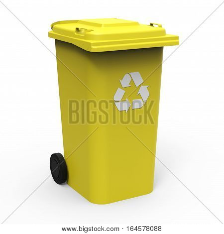 Yellow recycle bin isolated on white background 3D rendering