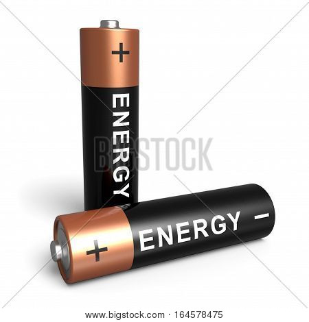 Two AA batteries isolated on white background 3D rendering