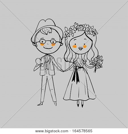 Wedding couple on a gray background. Vector illustration