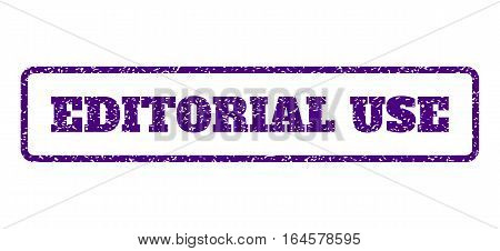 Indigo Blue rubber seal stamp with Editorial Use text. Vector message inside rounded rectangular frame. Grunge design and dirty texture for watermark labels. Horisontal emblem on a white background.