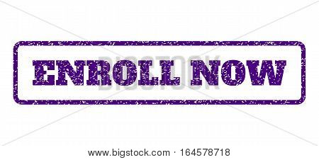Indigo Blue rubber seal stamp with Enroll Now text. Vector tag inside rounded rectangular shape. Grunge design and dust texture for watermark labels. Horisontal sign on a white background.