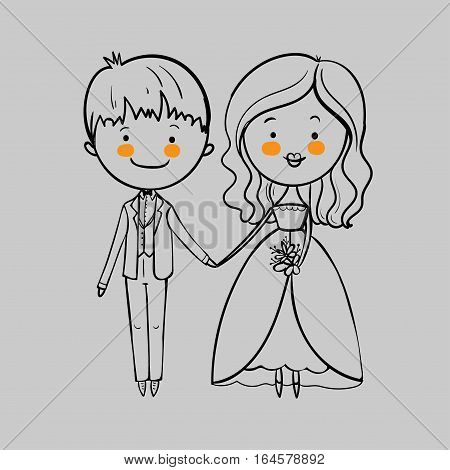 Wedding couple with a bouquet on the gray background. Vector illustration