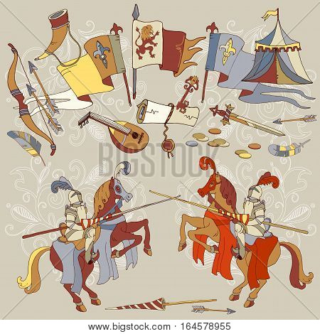 Knight Tournament medieval joust knight on horse medieval frame vector