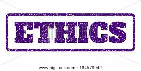 Indigo Blue rubber seal stamp with Ethics text. Vector caption inside rounded rectangular banner. Grunge design and dust texture for watermark labels. Horisontal emblem on a white background.