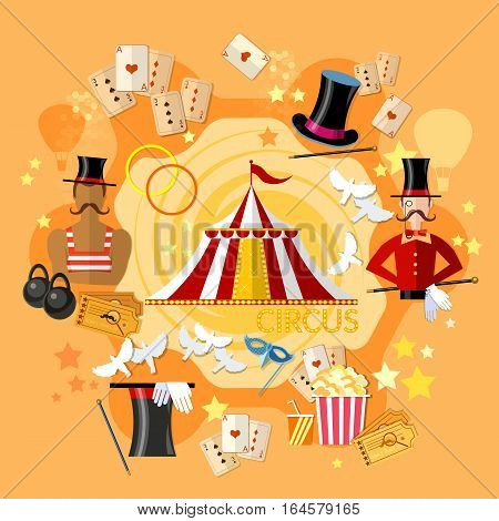 Circus performance circus show. Magician strongman magic tricks vector illustration