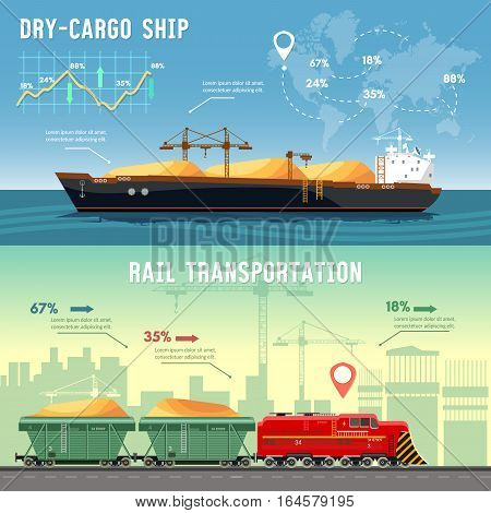Freight trains infographics vector set. Logistics concept