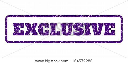 Indigo Blue rubber seal stamp with Exclusive text. Vector tag inside rounded rectangular shape. Grunge design and scratched texture for watermark labels. Horisontal sign on a white background.