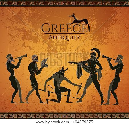 Ancient Greece scene. Black figure pottery. Hunting for a Minotaur gods fighter. Classical Ancient Greek style