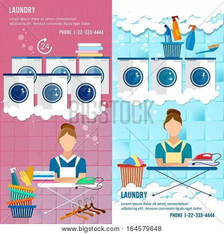 Laundry service banner concept laundry room with facilities for washing clothes laundry staff washing machine