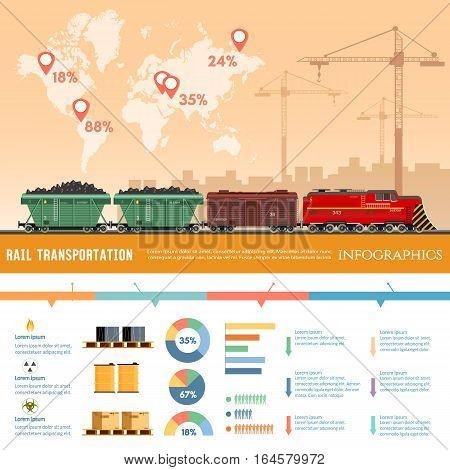 Freight trains infographics. Cargo train with coal. Cargo transportation by train transportation of oil gas toxic chemicals infographics. Industry and train transportation