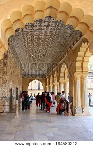 Amber, India - March 1: Jai Mandir (mirror Palace) In Amber Fort On March 1, 2011 In Amber, India. A