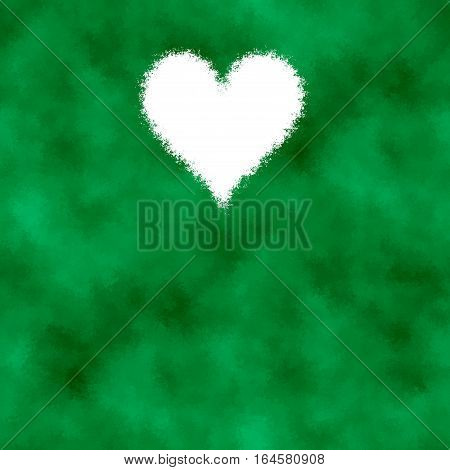 Green abstract diffuse cloudy image with white heart shape