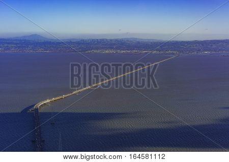 Aerial View Of San Mateo Bridge