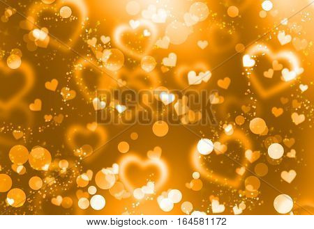 Defocused lights background. Heart bokeh. Bright colorful heart bokeh background. Multicolored golden blurry hearts on a black background. Valentines Day illustration
