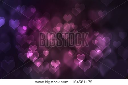 Defocused lights background. Heart bokeh. Bright colorful heart bokeh background. red Multicolored blurry hearts on a black background. Valentines Day illustration