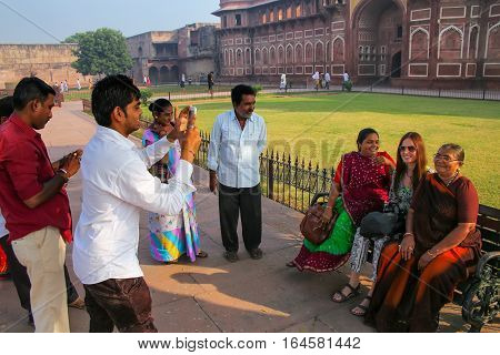 Agra, India - November 7: Unidentified People Take Photos Outside Of Jahangiri Mahal In Agra Fort On