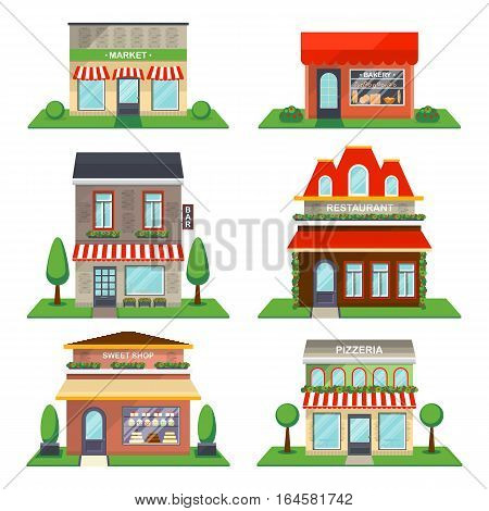 Restaurant and shop exterior set isolated on white background vector illustration. Cafe, restaurant, sweet shop exterior, bakery, market, bar, pizzeria. Detailed city public building collection in flat design. Shop exterior icon. Cartoon shop exterior.