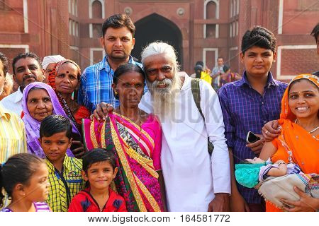 Agra, India - November 7: Unidentified People Stand Outside Of Jahangiri Mahal In Agra Fort On Novem