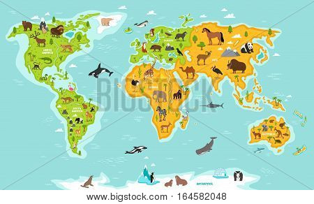 World map with wildlife animals vector. Animals planet concept, world with flora and fauna. Animals map. Giraffe, elephant, zebra, bear, turtle, whale, penguin, lynx, panda. Cartoon animals collection. Different animals for zoo poster