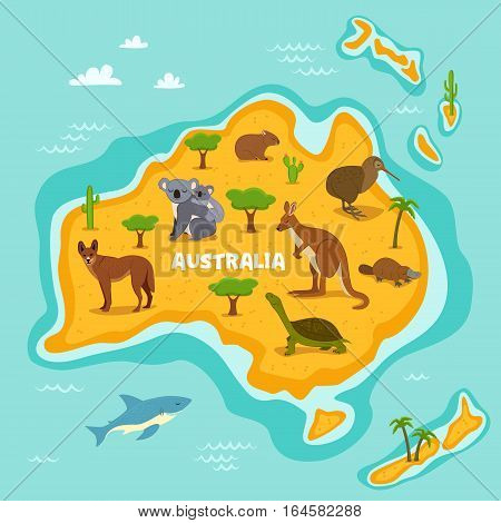 Australian map with wildlife animals vector illustration. Australian flora and fauna, koala, kangaroo, turtle, platypus, kiwi, dingo, shark. Australian continent in ocean with wild animals. Cartoon animals collection. Different animals for zoo poster