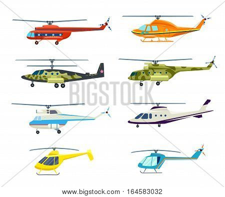 Helicopter set isolated on white background vector illustration. Air transport, propeller aerial vehicle, flying modern aviation. Military and civil helicopter collection in flat design. Cartoon helicopter collection. Helicopter icon set.