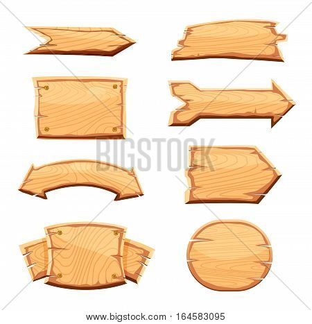 Wooden sign standing on white background vector illustration. Round, square and arrow shapes blank wooden sign board for message. Cartoon style wooden signpost collection. Wooden sign set. Isolated wooden sign with different wooden form.