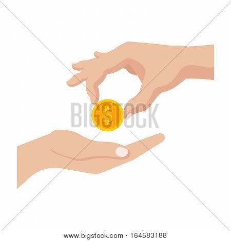 Concept of giving money for donation or charity