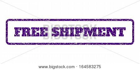 Indigo Blue rubber seal stamp with Free Shipment text. Vector caption inside rounded rectangular shape. Grunge design and unclean texture for watermark labels. Horisontal emblem on a white background.