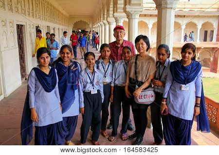 Agra, India - November 7: Unidentified People Stand In Colonade Walkway In Agra Fort On November 7,