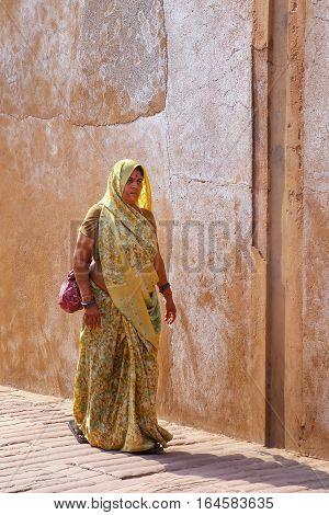 Agra, India - November 7: Unidentified Woman Walks In Agra Fort On November 7, 2014 In Agra, India.
