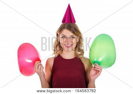 Picture of a sweet young girl celebrating birthday - isolated background