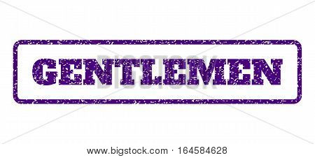 Indigo Blue rubber seal stamp with Gentlemen text. Vector tag inside rounded rectangular banner. Grunge design and scratched texture for watermark labels. Horisontal sticker on a white background.