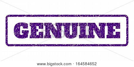 Indigo Blue rubber seal stamp with Genuine text. Vector tag inside rounded rectangular shape. Grunge design and dust texture for watermark labels. Horisontal emblem on a white background.