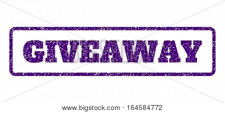Indigo Blue rubber seal stamp with Giveaway text. Vector message inside rounded rectangular banner. Grunge design and dust texture for watermark labels. Horisontal sticker on a white background.