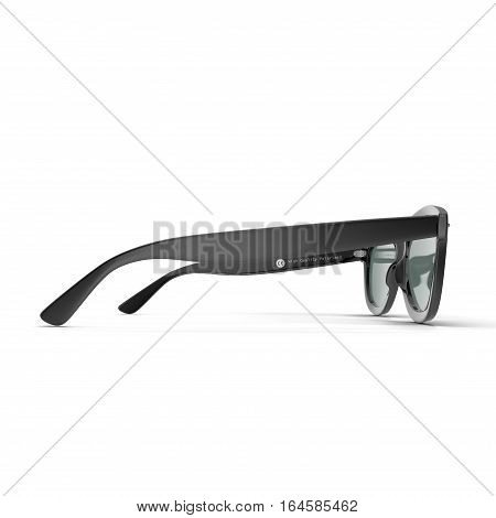 Sunglasses isolated against a white background. Side view. 3D illustration