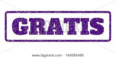 Indigo Blue rubber seal stamp with Gratis text. Vector tag inside rounded rectangular frame. Grunge design and unclean texture for watermark labels. Horisontal sign on a white background.