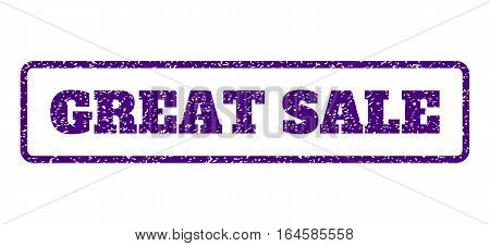 Indigo Blue rubber seal stamp with Great Sale text. Vector tag inside rounded rectangular frame. Grunge design and dust texture for watermark labels. Horisontal emblem on a white background.