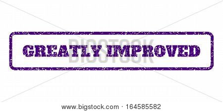 Indigo Blue rubber seal stamp with Greatly Improved text. Vector message inside rounded rectangular shape. Grunge design and dirty texture for watermark labels.