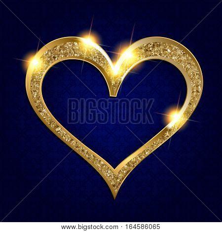Gold Frame Heart On A Dark Background