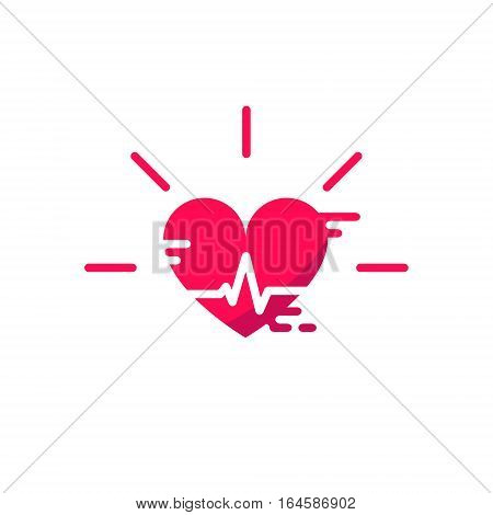 Blood Pressure Vector Icons. Heart Cheering Cardiogram