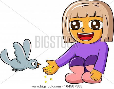 Cartoon illustration of a cute little girl feeding bird with grains isolated on white background