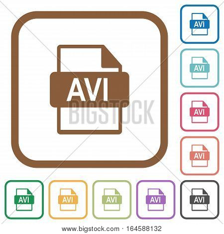AVI file format simple icons in color rounded square frames on white background