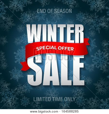 Winter Sale Badge, Label, Promo Banner Template. Special Sale Offer Text On Ribbon. Limited Time Onl