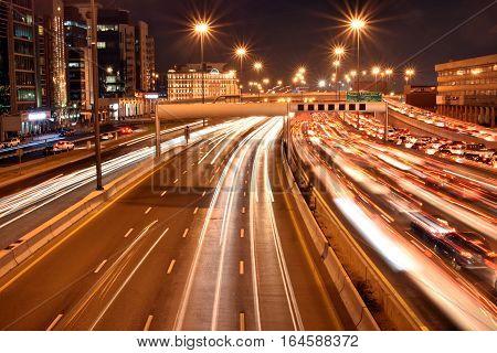 Heavy traffic in Dubai-Sharjah road, Al Ittihad road in rush hour, Dubai, United Arab Emirates
