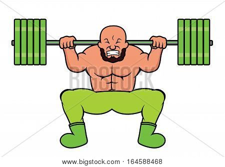 Weight Lifter Doing Heavy Barbell Squat Cartoon. Vector illustration.