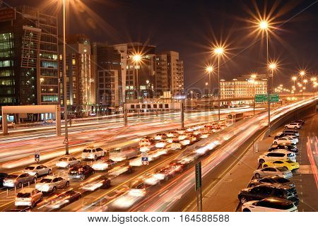 Heavy traffic in Dubai-Sharjah road, Al Ittihad road in rush hour, Dubai, United Arab Emirates