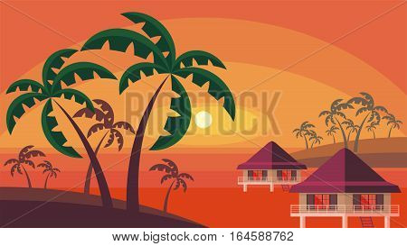 Bungalows And Palm Trees.eps