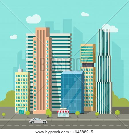 City buildings near road vector illustration, cityscape flat style, modern big hight skyscrapers town, urban street landscape