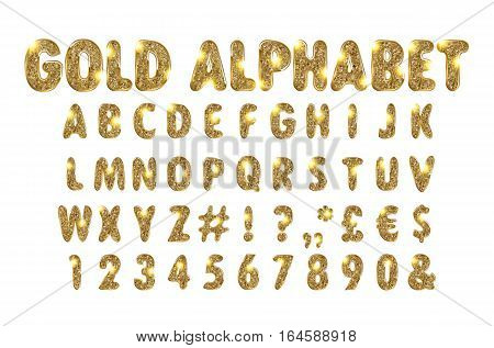 Golden Beveled Font. Vector Alphabet. Gold effect letters numbers and punctuation marks on a white background. Typeset for your headlines posters etc.