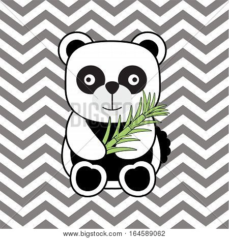 Baby shower illustration with cute baby panda on chevron background suitable for baby shower invitation card, greeting card, and nursery wall
